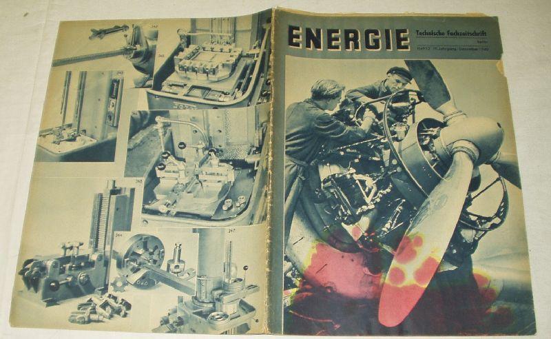 Energie - Technische Fachzeitschrift (Heft 12, 19. Jahrgang, Dezember 1940)